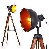 Lampadaire Jupiter vintage en métal noir/cuivré et bois naturel, pour ampoule E27 max 40 Watt, l'abat-jour rétro pivote, compatible ampoules LED