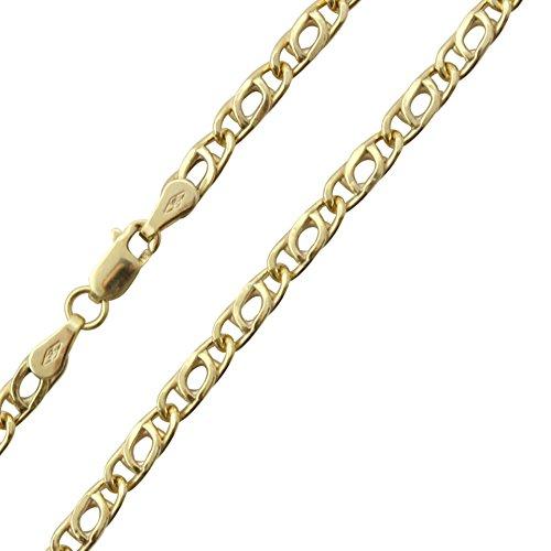 14 Karat / 585 Gold Tigeraugen Pfauenauge Unisex Gelbgold Kette – Breite 3.20 mm – Länge wählbar