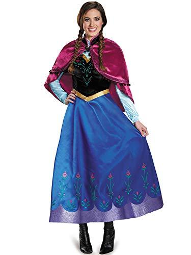 FStory&Winyee Damen Kostüm Karneval Eiskönigin Prinzessin Anna Kleid Blau mit Umhang Rosa Erwachsene Cosplay Kleid für Fasching Verkleidung Party Rollenspiel ()