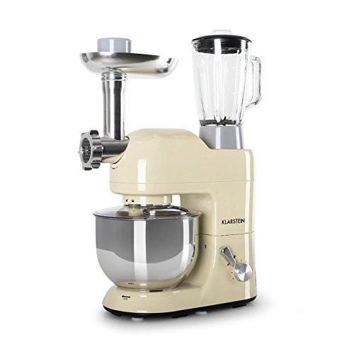 Klarstein Lucia Morena • Robot de cocina universal • Batidora • Amasadora • Picadora • Licuadora • 5 L • Batido planetario • Cabezal Pasta • Recipiente de acero inoxidable • 1200 W • Crema