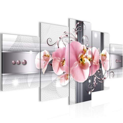 Bilder Blumen Orchidee Wandbild 200 x 100 cm Vlies - Leinwand Bild XXL Format Wandbilder Wohnzimmer Wohnung Deko Kunstdrucke Rosa Grau 5 Teilig - Fertig zum Aufhängen 008351a