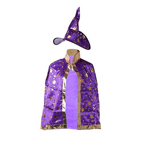 D'halloween Kostüm Robe - ZJL220 Kids Children Halloween Costume Witch Wizard Cloak Gown Robe Hat Stars Cosplay