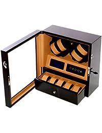 WATCH Winder carga relojes Digital con LED relojes para 4Relojes Caoba