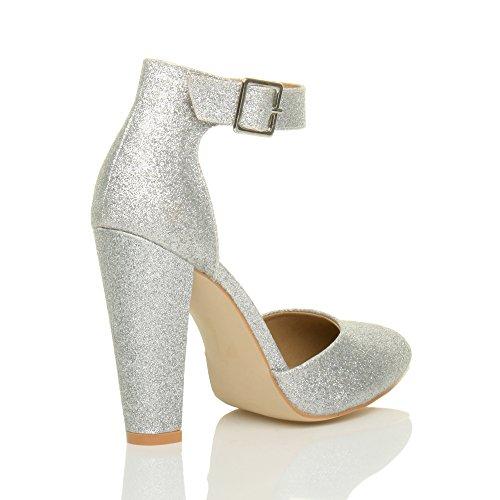 Femmes haute large talon boucle lanière pointu escarpins chaussures pointure Paillettes d'argent