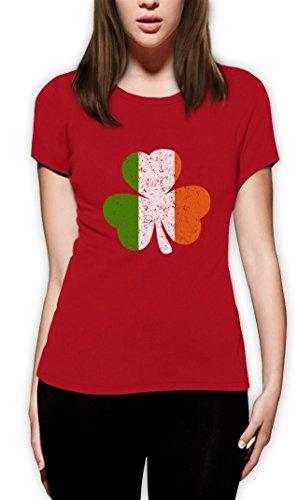 Irland Farben Kleeblatt Clover St. Patricks Day Frauen T-Shirt Rot