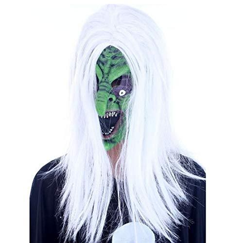 een Horror Grimasse Geist Maske Scary Zombie Emulsion Haut mit weißem Haar Hexe Gesicht Hochwertig, langlebig und eigenständig Hexe ()