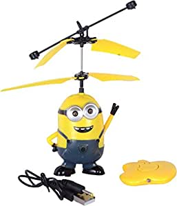 Kids World Minion Aircraft Flying Minion Hand Induction Control With LED Light Gravity Sensor Toy USB Rechargeable Minion Aircraft Despicable
