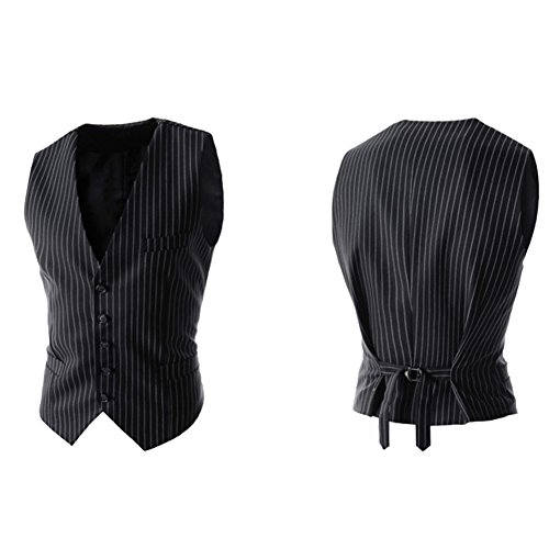 Bmeigo Uomo Formal Striped 5 Button Vestito Gilet Waistcoat Black