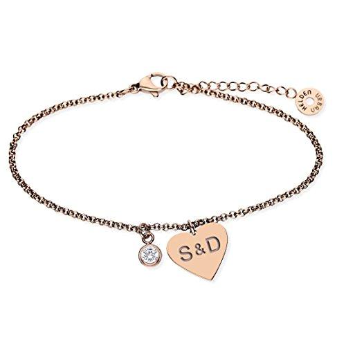URBANHELDEN - Armband mit Herz Anhänger und Wunschgravur - Damen Schmuck Herzarmband Verstellbar, Edelstahl - Armschmuck Armkette Gravur Initialen - Rosegold G20