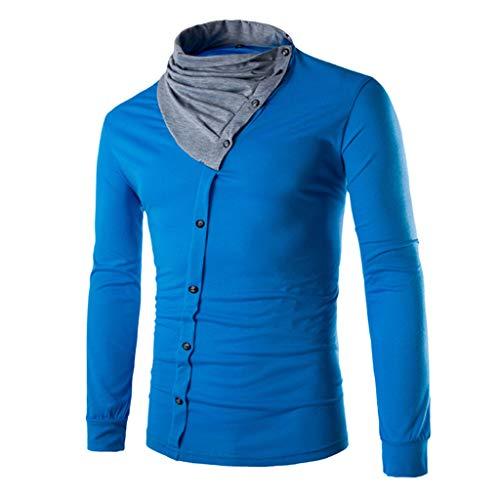 DNOQN Top Herren Long Tee Männer Männer Stehkragen Stilvolle Passform Lässige Baumwoll T-Shirts Warmes Hemd Langarmshirts L