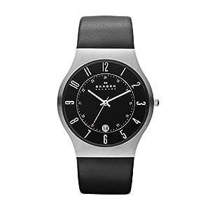 Skagen Steel 233XXLSLB - Reloj de caballero de cuarzo (japonés), correa de piel color negro de SKAGEN