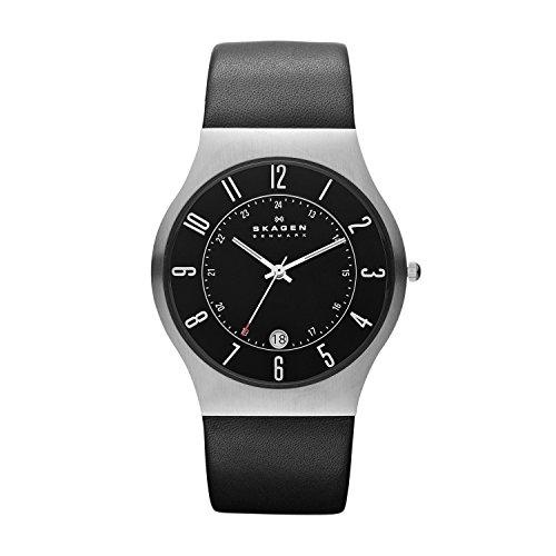 Skagen Steel 233XXLSLB - Reloj de caballero de cuarzo (japonés), correa de piel color negro