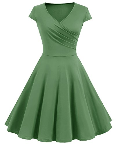 Bbonlinedress Robe Femme Vintage rétro Robe de Soirée cocktail Col en Cœur style Audrey Hepburn années 1950s Army Green