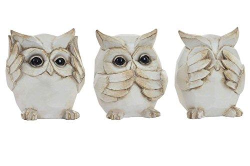 Figuras buho sabio (conjunto de 3 unidades) ver, oir y callar en poliresina blanco