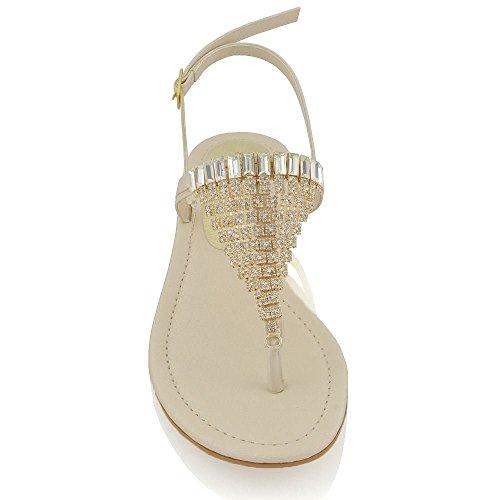 Essex Glam Damen Sandalette T-Spangen Zehentrenner mit groben Strasssteine Hautfarbe