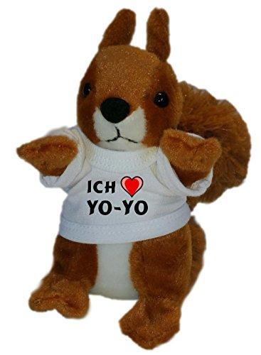 Personalisiertes Eichhörnchen Plüsch Spielzeug mit T-shirt mit Aufschrift Ich liebe Yo-yo (Vorname/Zuname/Spitzname)