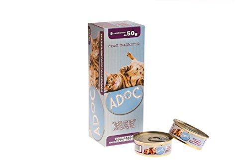 Adoc Naturale Tonnetto con Gamberetti per gatti adulti, 12 confezioni multipack da 9 pezzi
