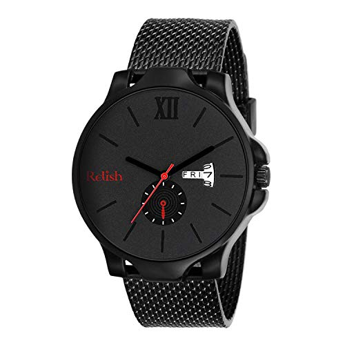 Relish Analogue Black Dial Men's & Boy's Stylish Watch