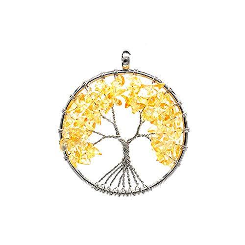 Collana con ciondolo a forma di albero della vita in 7 quarzi naturali e lega, colore: 19686265-6sn003