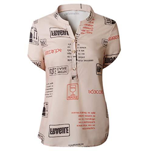 iHENGH Damen Sommer Top Bluse Bequem Lässig Mode T-Shirt Blusen Frauen Sunmer Women V Ausschnitt Buchstaben Druckknopf Kurzarm T-Shirt Tops Bluse(Khaki, 3XL) -