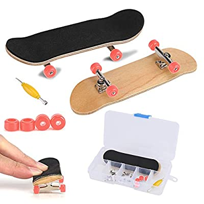 Fingerboard Finger Skateboards, Mini diapasón, Patineta de dedos profesional para Tech Deck Maple Wood DIY Assembly Skate Boarding Toy Juegos de deportes Kids Christmas Gift(Rojo) de Zerodis
