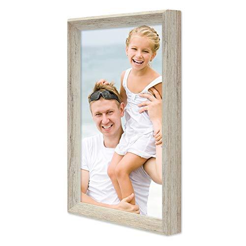 PHOTOLINI Vintage Bilderrahmen Shabby-Chic Weiss 20x30 cm Massivholz mit Glasscheibe und Zubehör/Fotorahmen / Portraitrahmen