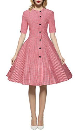 MILEEO Audrey Hepburn 1/2 Sleeve Luouse 1950s Vintage Rockabilly Dress Rot