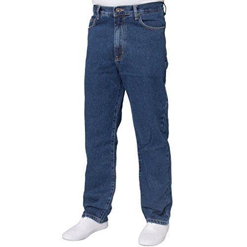 NEU HERREN GERADES BEIN Einfach schwer Works Jeans Denim Hose alle Hüfte große Größen - Stone Wash, 46W x 32L (Denim Wash Hose)