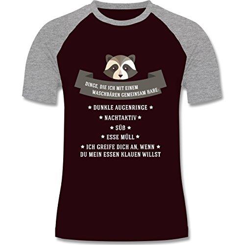 Statement Shirts - Waschbär Gemeinsamkeiten - zweifarbiges Baseballshirt für Männer Burgundrot/Grau meliert