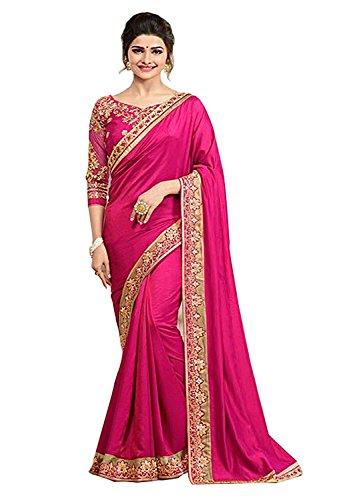 SHIVALIKA TEX Silk Saree With Blouse Piece (Rangoon_Pink!C_184_Pink_Free Size)