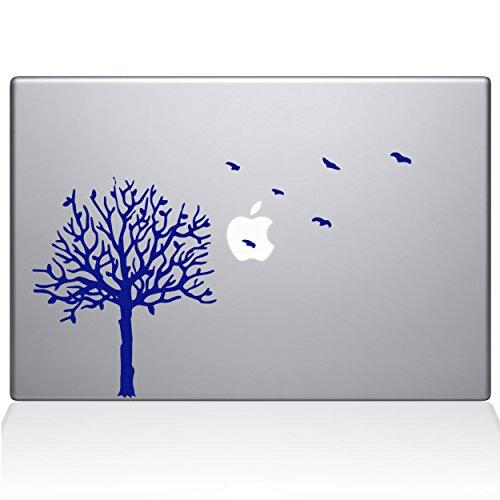 The Decal Guru 2094-MAC-13X-DB Baum mit Vögeln, Vinyl-Aufkleber, Dunkelblau, 33 cm (13 Zoll) MacBook Pro (2016 und Neuer) - Baum Mac Decal