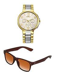 Orlando Chronograph Look Analogue Gold Dial Mens Watch & BIG Tree Cinnamon Brown Color UV Protected Wayfarer Sunglasses Goggles Combo Set