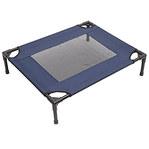 PawHut Dog Cat Puppy Pet Elevated Raised Cot Bed Portable Camping Basket – Blue (Medium)