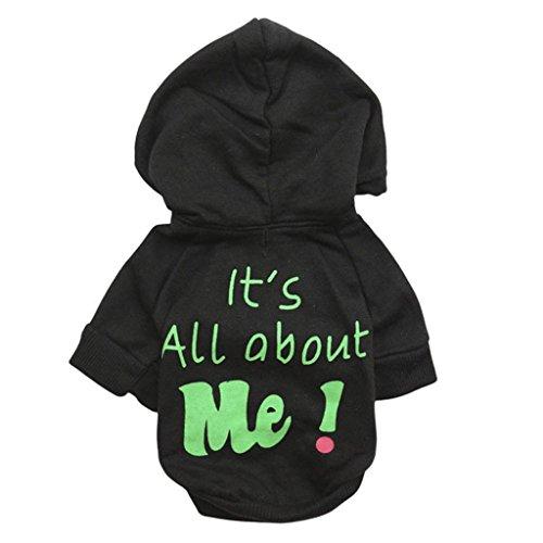 Hot Pet Hoodie Sweatshirt, Hmeng Weiche Warme Flanell Haustier Kleidung Schnitt Brief Drucken Hund Pullover Welp (L, Schwarz) (Flanell-pyjama Süße)