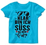 Mikalino Baby/Kinder T-Shirt mit Spruch für Jungen Mädchen Unisex Kurzarm Klar Bin ich süß - bei dem Papa | handbedruckt in Deutschland | Handmade with Love, Farbe:Atoll, Grösse:56/62