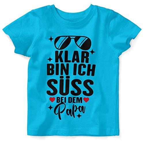 Mikalino Baby/Kinder T-Shirt mit Spruch für Jungen Mädchen Unisex Kurzarm Klar Bin ich süß - bei dem Papa | handbedruckt in Deutschland | Handmade with Love, Farbe:Atoll, Grösse:56/62 (Süße Baby Shirts Für Jungen)