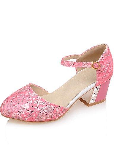 WSS 2016 Chaussures Femme-Bureau & Travail / Décontracté-Vert / Rose / Blanc / Amande-Gros Talon-Confort / Bout Arrondi-Talons-Synthétique pink-us9.5-10 / eu41 / uk7.5-8 / cn42
