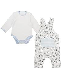 The Essential One - Bebé Niños Conjunto Peto y Body 2pcs - Blanco/Azul - TESS16