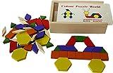 Toys of Wood Oxford 60 blocs de bois tangram montessori -Géométrique Blocs en Bois Jeux de Cerveau pour les Enfants - jouet en bois pour 3 ans