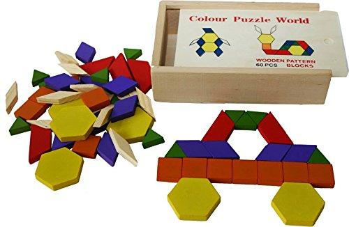Toys of Wood Oxford blocchi modello in legno e puzzle 60pezzi-Rompecabezas Tangram