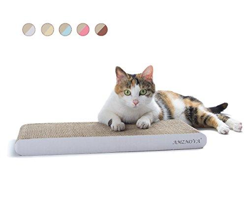AMZNOVA Kratzbrett für Katzen, Recycelbar Kratzpad, Wellpappe Kratzmatten Kratzlounge Kratzspielzeug mit Katzenminze