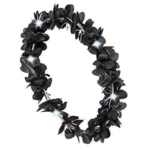 Folat Halloween Hawaii Kranz schwarz mit Glitter und LED