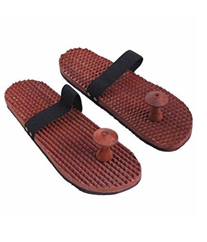 wooden-relaxing-acupressure-foot-feet-massager-slippers-khadau-type-for-good-health-reflexology-sand