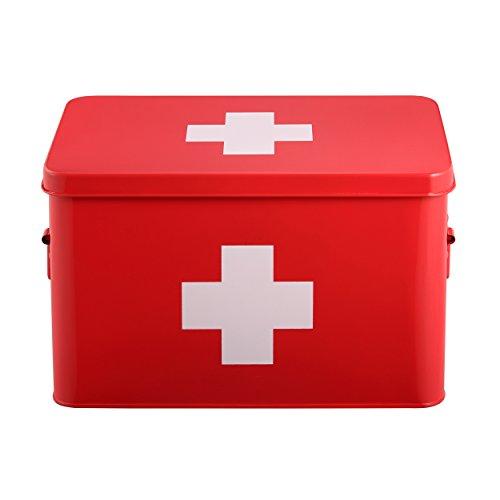 Mari Home Medizinkasten aus Zinn, zweilagig, mit 5 Unterteilungen, rot, ohne Erste-Hilfe-Zubehör - 32,5 x 20 x 20,5 cm - 32 Erste Hilfe