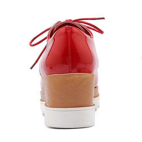 VogueZone009 Donna Pelle Di Maiale Allacciare Punta Quedrata Punta Chiusa Tacco Medio Puro Ballerine Rosso