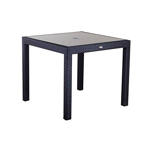 Schwarze Outdoor-esstisch (SOL Bistro Esstisch Schwarz Rattan Tisch mit Glas)