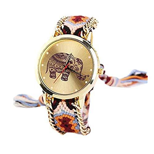 Cdrox Mädchen Adjustable handgemachtes gesponnenes buntes Armband Frauen Elefant-Muster-Armbanduhr-Quarz-Armbanduhr