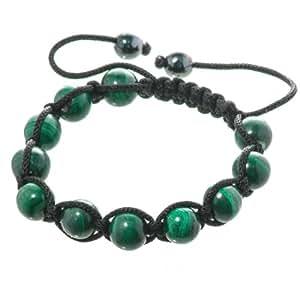 Bella carina bracelet unisexe shamballla avec 11 perles en pierre précieuse véritable avec malachite