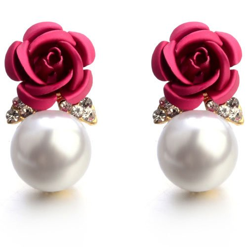 Shining Diva Fashion Pink Pearl Floral Stylish Fancy Party Wear Stud Womens...