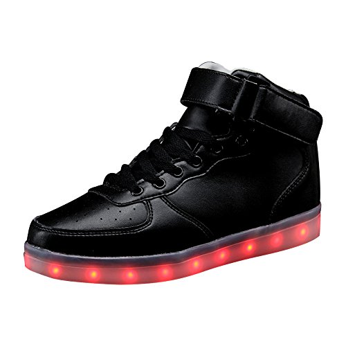 Eastlion USB Lade LED Sport Schuhe Lumineszierende Ghost Dance Schuhe Bunte fluoreszierende Schuhe Schwarz